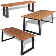 Acacia Wood Dining Table Solid Acacia Wood Dining Table Bench Metal Legs Kitchen Furniture