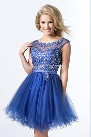 turmec royal blue cap sleeve prom dress
