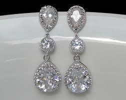 bridal drop earrings etsy