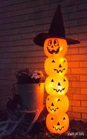 glowing plastic jack o u0027 lantern totem diy halloween decoration