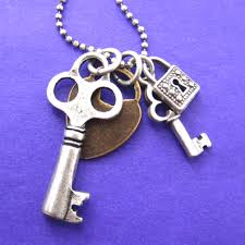 lock key pendant necklace images Antique skeleton locks and keys charm necklace in silver dotoly JPG