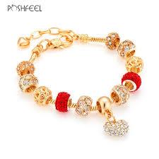 bracelet luxury crystal images Poshfeel luxury crystal heart charm bracelets bangles gold color jpg