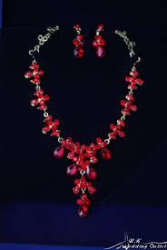 red crystal necklace set images Christmas bridal red valentine crystal necklace set with earring jpg
