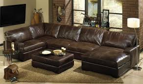 Rustic Leather Sofa by Rustic Living Room With U Shaped Brown Leather Sectional Soffa