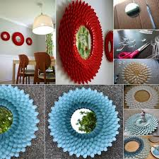 handmade things for home decoration diy plastic spoon flower mirror to decorate your home http www