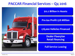 paccar trucks paccar inc 2016 q4 results earnings call slides paccar inc
