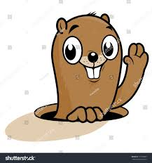 cute groundhog peeking out hole smiling stock vector 171560099