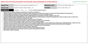 Inspector Resume Sample by Connected Vehicle Resumes Samples