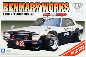 nissan skyline police car aoshima 10686 lb works nissan skyline kenmary ken u0026mary works 4dr