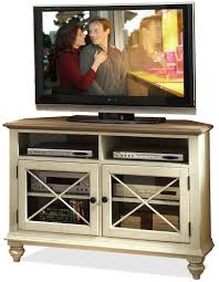 riverside furniture coventry two tone 2 door corner tv console
