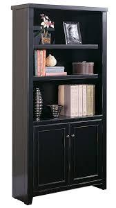 Wooden Bookcase With Doors Black Wood Veneer Bookcases 48
