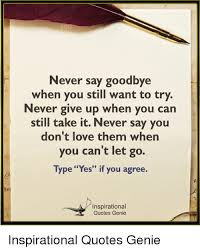 Inspirational Love Memes - never say goodbye when you still want to try never give up when you