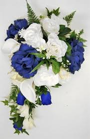 blue roses ivory or white and blue roses callas cascading bouquet