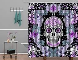 Skull Shower Curtain Hooks Flower Sugar Skull Shower Curtain Print Polyester High Quality
