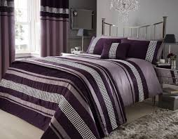 bedroom purple duvet cover with white ceramic floor and grey rug