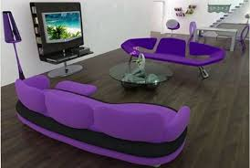 contemporary living room with purple sofa bring stylish