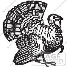 retro clipart of a vintage thanksgiving turkey bird gobbler in black