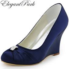 wedding shoes navy aliexpress buy women wedges high heel wedding bridal shoes