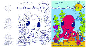 learn how to draw an octopus step by step tutorial