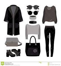 set of monochrome trendy women u0027s clothes with coat trousers stock