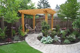 easy pergola ideas for backyard completed with wooden fence