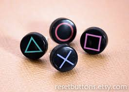 button earrings playstation button earrings set of 4 by resetbuttons on etsy