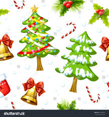 theme tree christmas theme pattern includes christmas trees stock vector red