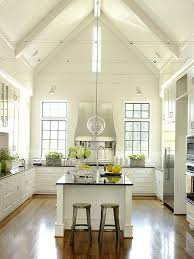 Kitchen Ceilings Designs A Vaulted Ceiling And Bead Board Reinforce The Country Meets