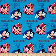 disney mickey u0026 minnie text me blue discount designer fabric
