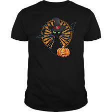 black cat halloween pumpkin bats shirt