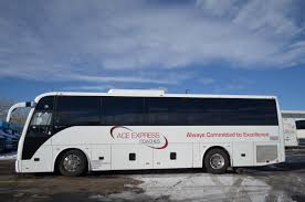 party bus outside ace express coaches