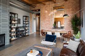 living room chicago river north loft industrial living room chicago by haven