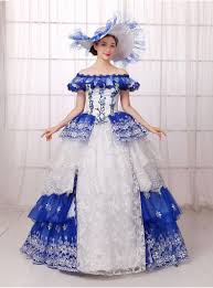 royal blue white ruffled flower embroidery ball gown medieval