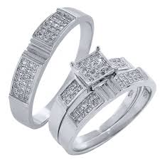 walmart wedding rings for his and hers 3 pieces sterling silver and cz engagement wedding