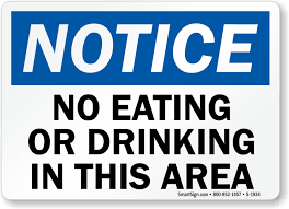 no eating or drinking in this area sign notice signs sku s 1934
