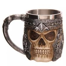 2 unique stainless steel liner creepy 3d skull coffee beer