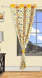 Amazon Door Curtains Buy Swayam Printed Eyelit Cotton Door Curtain Yellow Curd 5203
