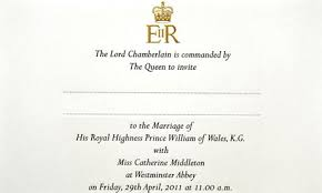 royal wedding invitation royal wedding the prince william and kate middleton guest list as