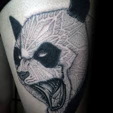 illustrative style detailed thigh tattoo of evil panda bear