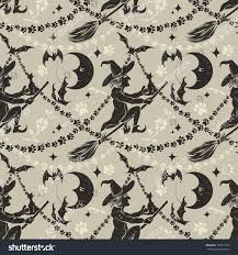 halloween repeating background patterns vintage halloween seamless background flying witch stock vector