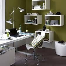 small office room sydney interior design with white wall shelves