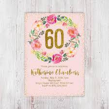 womens 60th birthday party invite 60th birthday invitation pink