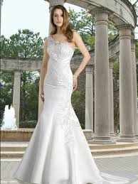 a frame wedding dress satin fit and flare gown with one shoulder zipper back and