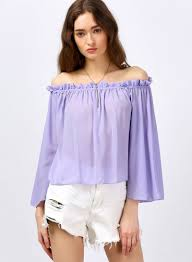 lilac blouse s fashion shoulder 3 4 sleeve ruffles blouse