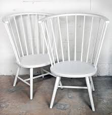 oversize crate and barrel white spindle back chairs ebth