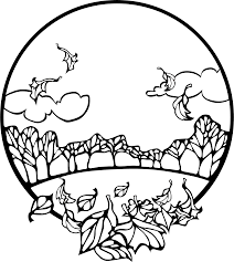 clipart fall scene coloring page