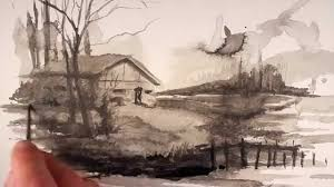 creative drawing exercise with ink wash youtube