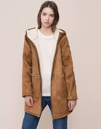 fleece lined coat with hood coats and parkas woman pull bear