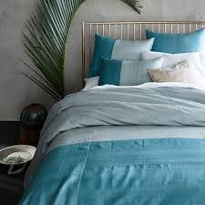 Duvet Covers Teal Blue Sari Silk Duvet Cover Shams Blue Teal West Elm