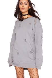 new ladies womens distressed baggy ripped longline sweatshirt
